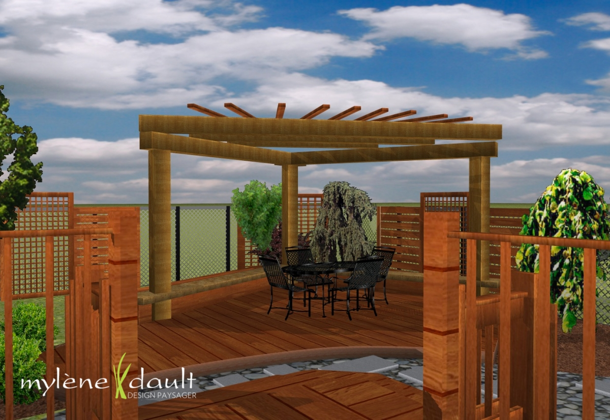Patio avec pergola en coin myl ne dault for Plans de pergola