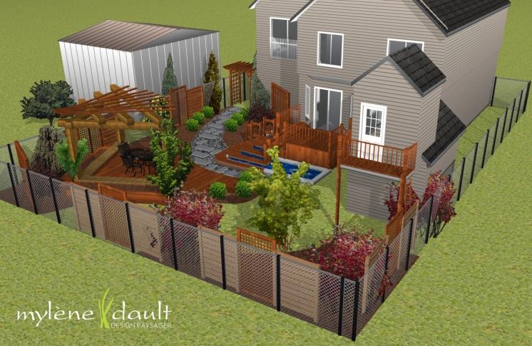 Cour arrière avec bassin d'eau autour du patio (deck) et pergola en coin pour terrasse au sol